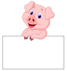 Cute pig cartoon holding blank sign vector