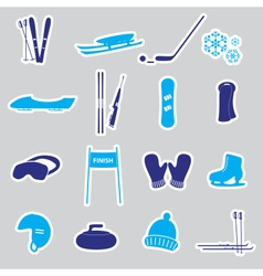 Winter sports and equipment stickers eps10 vector
