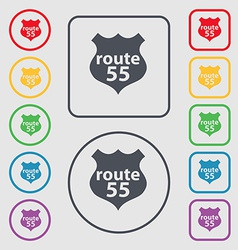 Route 55 highway icon sign symbol on the round and vector