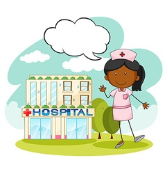 Nurse standing in front of hospital vector