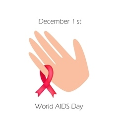 World aids day red ribbon on his arm vector