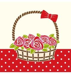 roses gift basket vector image
