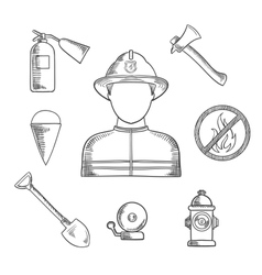 Firefighter profession hand drawn sketch icons vector