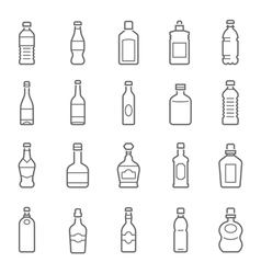 Lines icon set - bottle and beverage vector
