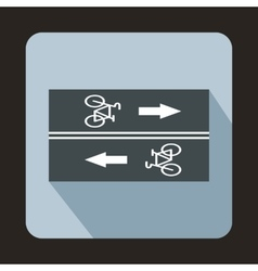 Road for cyclists icon flat style vector