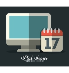Computer and calendar icon office instrument vector