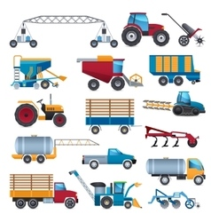 Agricultural Machines Icons Set vector image