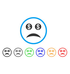 Bankrupt smile rounded icon vector
