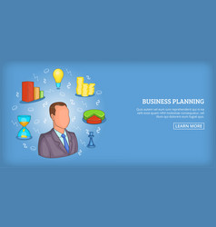 Business plan banner horizontal man cartoon style vector