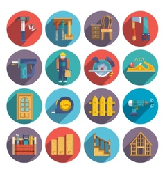 Carpentry icons flat vector