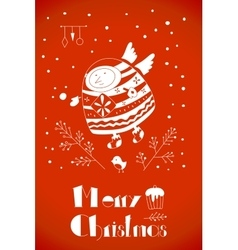 Christmas card in the doodle style vector image vector image