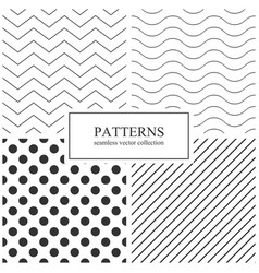 collection of simple seamless geometric patterns vector image vector image