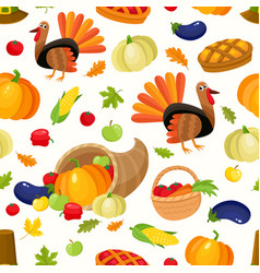 colorful seamless pattern of thanksgiving symbols vector image vector image