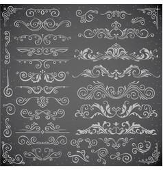 dark set of swirl elements for frame design vector image