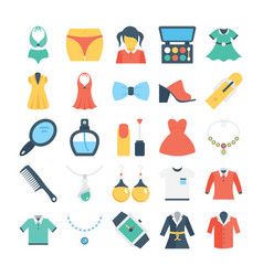 Fashion and clothes colored icons 3 vector