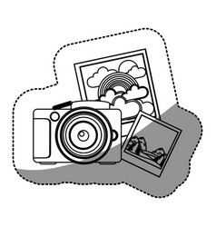 Figure camera with pictures icon vector