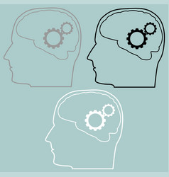 Gears in the brain of head icon vector
