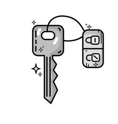 grayscale key door to security and protection vector image