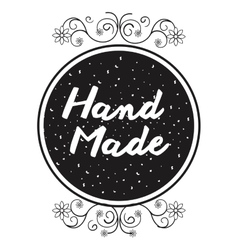 Hand made label icon vector