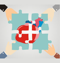 Hands putting heart puzzle pieces together vector