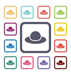 hat flat icons set vector image vector image