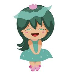 Kawaii cheerful magic-green baby-grls vector
