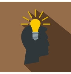 Light bulb idea icon flat style vector image vector image