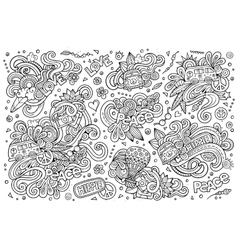Line art set of hippie objects vector image