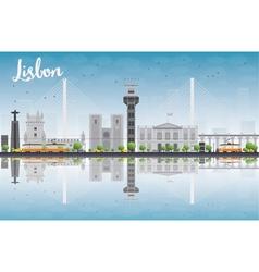 Lisbon city skyline with grey buildings vector