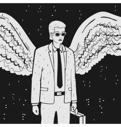 Man in a suit with wings vector image vector image