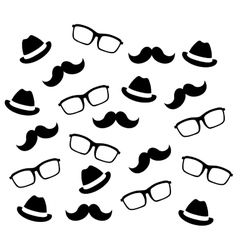 Mustaches glasses and hats vector