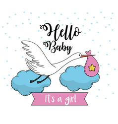 Nice stork with bag to baby shower card vector
