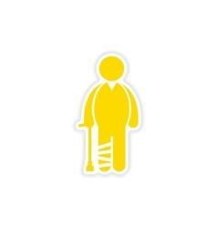 Paper sticker man with broken leg on white vector