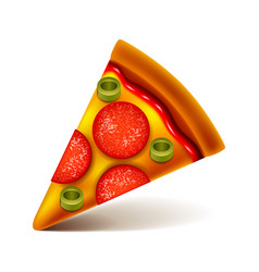 Pepperoni pizza slice isolated on white vector