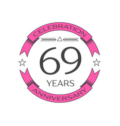 Realistic sixty nine years anniversary celebration vector