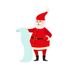 Santa claus with a long list of christmas presents vector