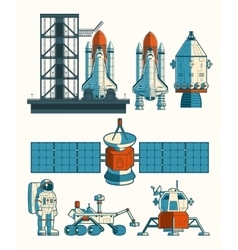 Set flat on the space theme vector