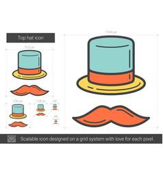 Top hat line icon vector