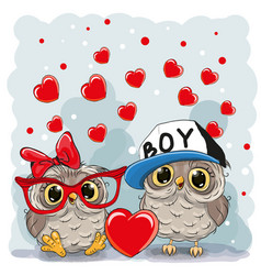 two cute owls vector image vector image