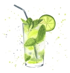 Watercolor mojito vector