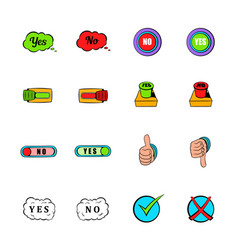 yes and no icons set cartoon vector image