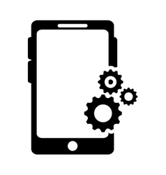 Modern cellphone and gears icon vector