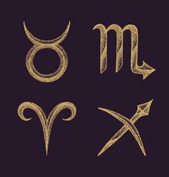 Hand drawn zodiac signs set vector
