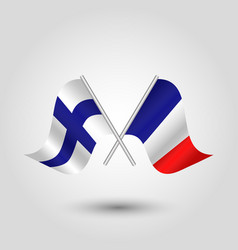 two crossed finnish and french flags vector image