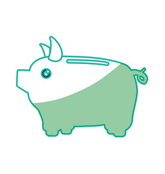 Silhouette save money inside pig in the home vector