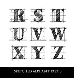 sketched diagram alphabet set 3 vector image