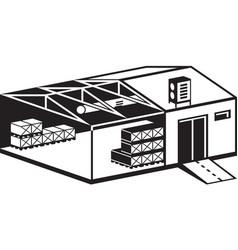 Industrial warehouse building vector