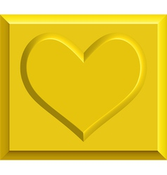 Gold heart bullion vector