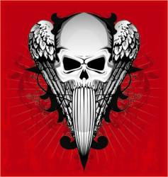 Skull with wings vector