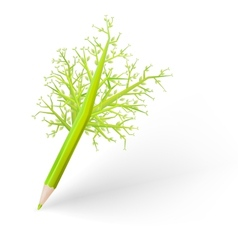 Green tree pencil eps 10 vector